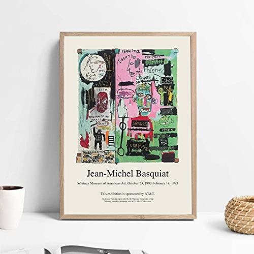 YHJK Póster de Arte Jean Michel Basquiat Pintura Abstracta Bellas Artes Impresión de Lienzo Cuadros de Pared Cartel de Arte Callejero Decoración para Sala de Estar 50x70cm sin Marco