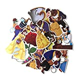 Sticker 18 Pcs Beauty and The Beast for Kids DIY Luggage Laptop Skateboard Car Bicycle Waterproof