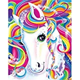 CANDYL Paint by Number Unicorn Pony DIY Oil Painting Paint by Number Kit for Kids Adults Canvas Painting by Numbers Arts Craft for Home Wall Decoration Paint by Number Unicorn Colorful Horse 16x20 Inc
