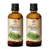 Aceite Esencial de Citronela 200ml / 2x100 ml - Antimosquitos - para Humidificador Aromaterapia...