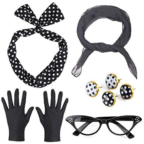 Beelittle Set di Accessori per Costume da Donna Anni '50 Sciarpa di Chiffon Guanti a Pois Bandana Cravatta Orecchini a Fascia Orecchini a Forma di Occhio di Gatto retrò (Nero)