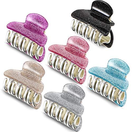6 Stücke Kleine Kunststoff Haar Klammern Acryl Haar Klammer Klammer Bunte Haar Klammern für Mädchen und Frauen