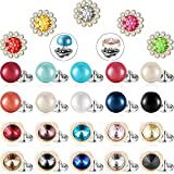 WILLBOND 30 Pieces Brooch Buttons Safety Cover up Button Shirt Brooch Lapel Pins Buckle Decorate Button, 3 Shiny Styles