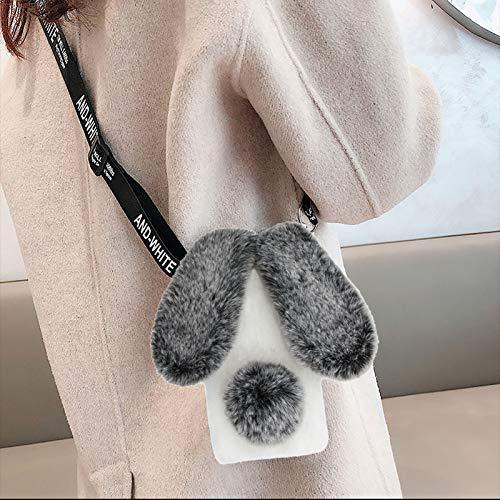 Cestor Plüsch Häschen Ohren HandyHülle für iPhone 5/5s,Niedlich Winter Warm Pelzig Weich Flauschige Faux Pelz Glitzer Silikon Hülle mit Verstellbarer Umhängeband,Grau + Weiß