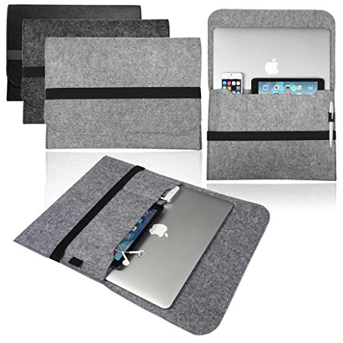 Funda de transporte de fieltro para Apple MacBook Pro y Air 11, 12, 13, 15 y 16 pulgadas.