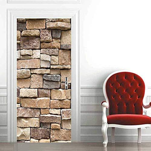 Etiqueta engomada de la puerta de la pared de piedra 3D, calcomanías murales de PVC para la decoración del hogar del arte 30.3x78.7 (77x200cm)