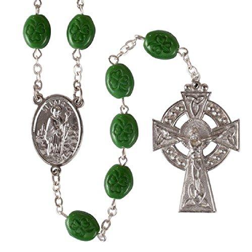 Oval Shamrock Irish Beads Rosary w/St. Patrick Center and Celtic Cross Gift Boxed