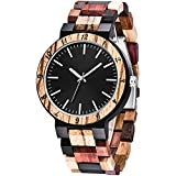 Men's Wood Watch Creative Quartz Watch for Men Hand-Made Wooden Mens Watches