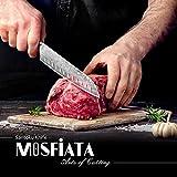 MOSFiATA Santoku Messer Kochmesser Küchenmesser Profi Chefmesser Allzweckmesser Aus Rostfreiem Stahl Sehr Scharfe Klinge mit Geschenkbox - 6