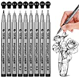 Black Micro-Pen Fineliner Ink Pens - Waterproof Archival Ink Micro Fine Point Drawing Pens for Sketching, Anime, Manga, Comic, Artist Illustration, Bullet Journaling, Technical Drawing