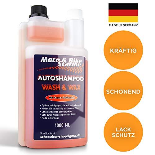 Moto & Bike Autoshampoo Wash & Wax - 1000ml Auto-Pflege mit Abperleffekt - KFZ, Motorrad Reinigung und Lackschutz mit Aktiv-Schaum für Sommer und Winter - einzigartige Glanzformel - Made in Germany