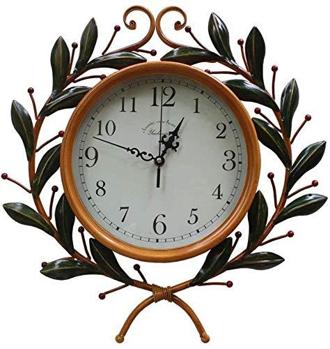 Reloj de Arte Hecho de Rama de Olivo Vieja Reloj de Pared Sala de Estar Relojes silenciosos Decoración Creativa Hierro Forjado Estilo Europeo Reloj de Pared Vintage Reloj de jardín Decoració