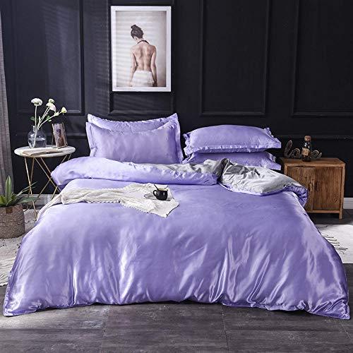 YFGY Funda de Edredón Suave y Transpirable Doble, Textiles para el hogar Juego de Cama de Color sólido Satinado, Juego de Cama Funda nórdica Sábana para Dormitorio Púrpura y Gris 180 * 220cm 4PCS