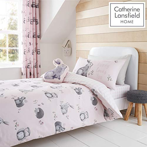 Catherine Lansfield Woodland Friends Easy Care Double Duvet Set Pink