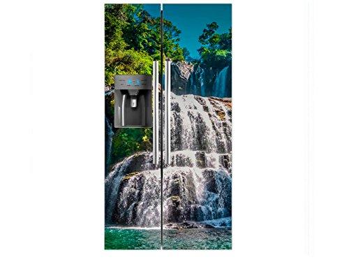 Vinilo Frigorífico Americano Cascada Escalonada | 90x180cm | Varias Medidas | Pegatinas de Nevera Económicas y Elegantes | Vinilo Nevera