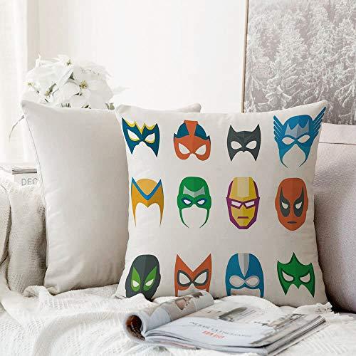 Fangguan decoración Cuadrada, Superhéroe, Héroe Máscara Disfraz Femenino Masculino Poder Justicia Personas Iconos de Moda Pantalla para,Funda de Almohada Almohada para Coche Almohada para sofá casero