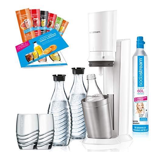 SodaStream Crystal 2.0 weiß Promopack | Sprudler + 2 Glaskaraffen + 1 CO-Zylinder + 2 Gläser + 6 Sirupproben | Wassersprudler