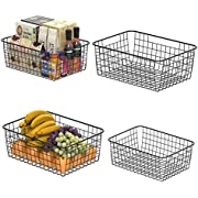 Wire Storage Basket, F-color 4 Pack Metal Household Storage Organizer Bin with 4 Built-in Handles for Pantry, Shelf, Freezer, Kitchen Cabinet, Bathroom, Large Medium, Black