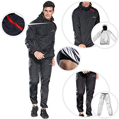 VeroMan メンズ サウナスーツ 上下セット サウナパンツ トレーニングウェア 超発汗 ダイエット (ブラック, L)