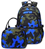 Kids Water Resistant Backpack with Lunch Bag for Elementary School Boys 2pcs Set (Set-Blue)