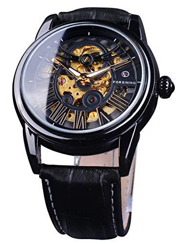 Forsining Reloj mecánico para hombre, diseño retro real, caja transparente, esfera de número romano