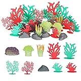 Non-brand Paquete de 32 Plantas de Simulación de Pecera de Acuario, Paquete de Decoración de Coral, Fácil de Combinar