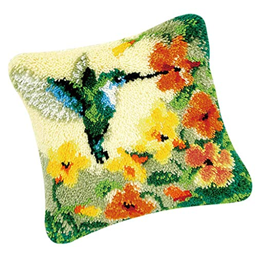 Tenlacum Lovely Animals Latch Hook Rug Making Kits for Beginners Embroidery Kit Pillowcase Cushion with Colorful Yarn Bundles, Canvas, Latch Hook Tool Easy (Flower and Bird)