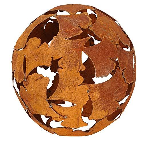 POS dekorative Deko-Kugel Garten-Kugel Ginkgo Metall rostig 35 cm Durchmesser