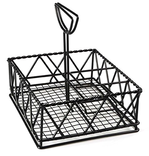 Rectangular Condiment Stands with 6 Compartments and Menu Holder, Wire Condiment Caddies for Restaurants, Steel (Black) - Set of 10