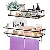 QEEIG Floating Shelves Bathroom Rustic Wall Mounted Shelf with Towel Bar Rack Kitchen Shelving Farmhouse...