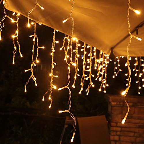 Lichterkette Eisregen Außen, 10m 400er LED Lichtervorhang LED mit Timer, IP44 wasserdicht 8 Modi für Innen Außen Weihnachten, Schlafzimmer , Party, Hochzeit, Balkon, Garten Deko(Warmweiß)