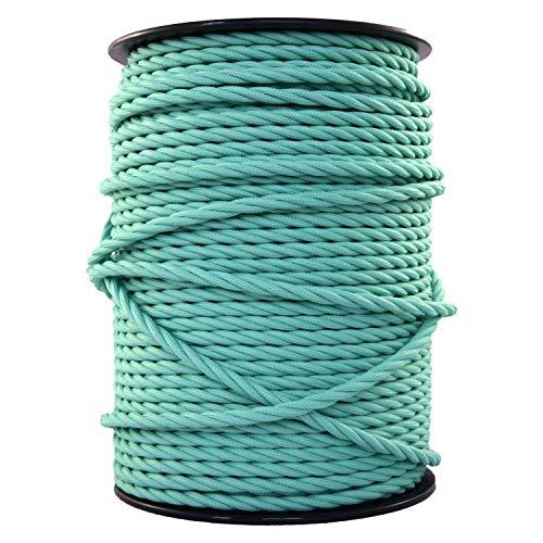 smartect Cable para lámparas de tela en color VerdeMenta - Cable textil trenzado de 10 Metro - 3 hilos (3 x 0,75 mm²) - Cable de luz con revestimiento textil