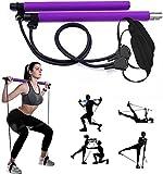 REXUS Pilates-Stangen-Set, mit Widerstandsband, tragbare Yoga-Stange, mit Fußschlaufe, für Sport, Fitness, für Zuhause, Fitnessstudio, Training, Fitnessgerät, Brust-Expander und Armabzieher