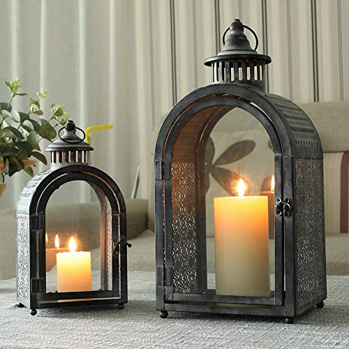YXZQ Set of 2 Vintage Style Hanging Lantern Decorative Lanterns Metal Candle Holder for Home Indoor Outdoor Garden Parties Weddings