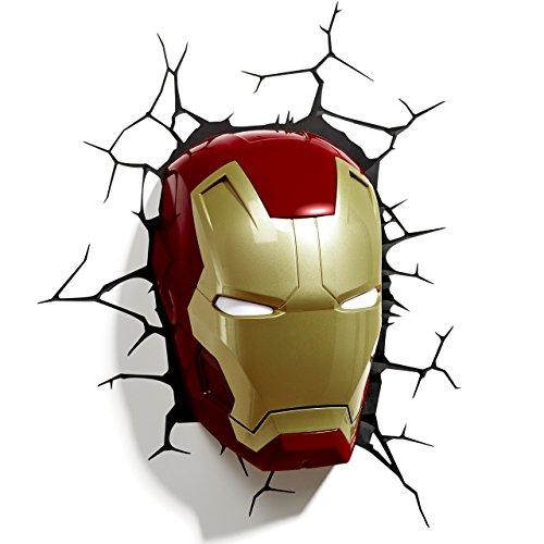 FEIGER Lámpara de Pared 3D Marvel Iron Man Mask