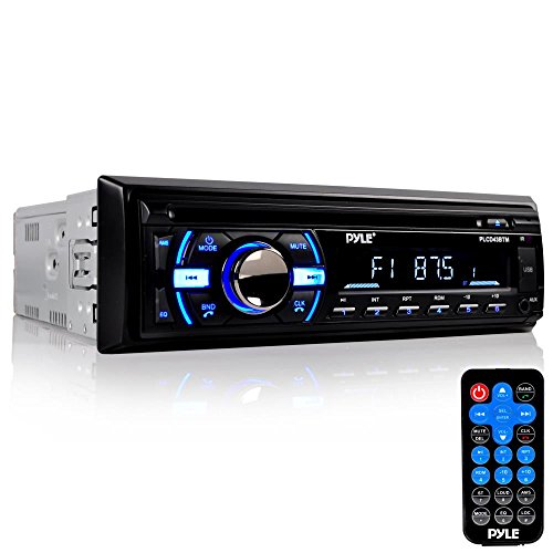 Boat Bluetooth Marine Stereo Receiver - Marine Head Unit Din Single Stereo Speaker Receiver - Wireless Music Streaming, Hands-Free Calling, CD Player/MP3/USB/AUX/ AM FM Radio - Pyle PLCD43BTM (Black)