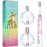 Cepillo de dientes eléctrico para niños, ultrasónico, con temporizador, tecnología de sonido, para niños y niñas, color rosa