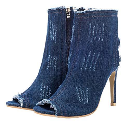 Happyyami Jean Stiefel Sandalen Frauen High Heels 10 cm Peep Toe Slingback Heels Sommerstiefel Knöchelschuhe Mode Knöchel Reißverschluss Blitzschuhe für Sommerhochzeitsfeier
