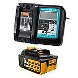 Batería BL1850 18V 5Ah + cargador 3A DC18RC con pantalla LED 14.4V-18V de repuesto para batería de litio Makita BL1850 BL1860 BL1840 BL1830 BL1815 LXT-400 DC18RA DC18RC