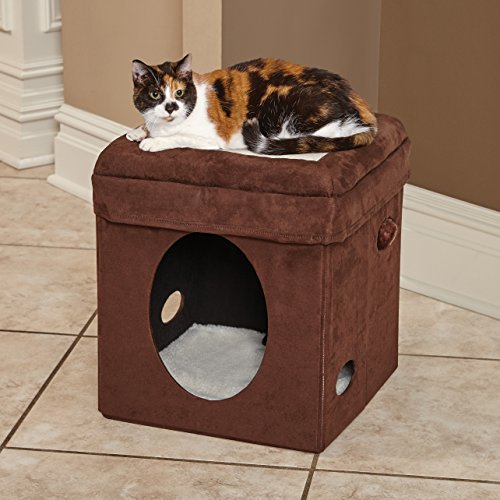 MidWest The Original Curious Cat Cube, Cat House / Cat Condo in Brown Faux Suede & Synthetic Sheepskin