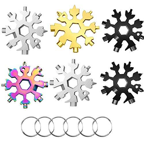 GIHENHAO 18-in-1 Schneeflocke Multitool,Edelstahl Fahrrad Multifunktionswerkzeug,Multitool Karte Schlüsselanhänger Flaschenöffner Ringschlüssel Schnee Schlüsselbund, Geschenke für Männer(6Pack)