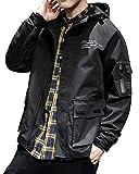 Aeneontrue Men's Jacket with Hood Casual Outdoor Coat with Cargo Pockets Lightweight Jackets Windbreaker Sportswear Black L