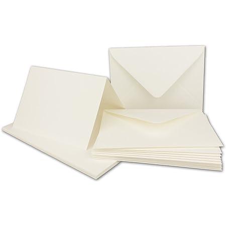40x Faltkarten-Set inklusive Brief-Umschl/äge I Blanko Einladungs-Karten in cremefarben mit Struktur-Pr/ägung I Gr/ö/ßer als DIN B6 I Klappkarten mit gepr/ägtem Muster I Gustav NEUSER/®