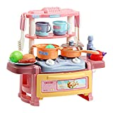 LWQ Niños Almacenamiento De Juguetes Utensilios,Children's Simulation Mini Tableware, Kitchen Toy Set with Light and Sound Effects-Pink