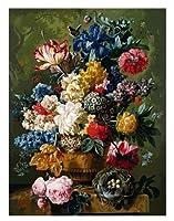 数字によるDIYデジタル絵画パッケージ古典的な花の着色壁アート画像ギフトフレームレス40x50cm