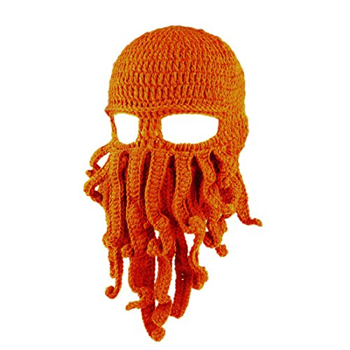 Octopus Tentacle Hat Knit Beanie Winter Warm Windproof Outdoor Activities Fashion Style Hat,Orange