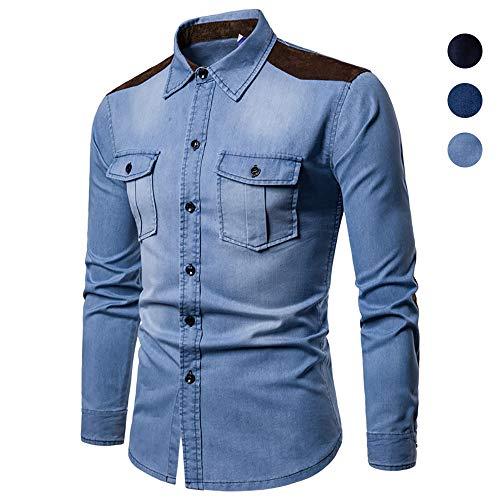 X&Armanis Freizeithemd für Herren, Baumwoll-Denim-Panel-Pocket-Hemden Revers Langarm T-Shirt (Herbst),2,M