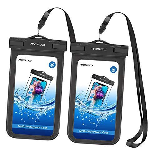 MoKo Funda Impermeable Brazo y Cuello Compatible para iPhone 12/12 mini/12 Pro/ 7/7 Plus/ 6s/ 6s Plus/Galaxy S21/S7/ S7 Edge/ P7 P8 P9 y Smartphone 5.7'', IPX8 Certificado, Negro