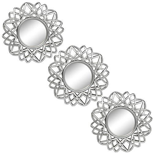 Pequeños Espejos Redondos para decoración de Pared Set de 3 – Accesorios para el hogar para Dormitorio, Sala de Estar y Comedor (M005)