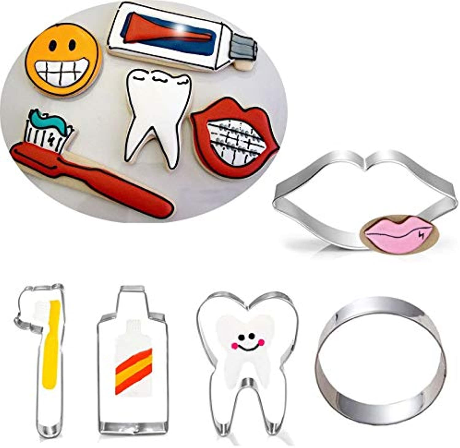Farmerly 5pcs Patisserie reposteria Metal Cookie Cutters Teeth Toothpaste Toothbrush Lip Fondant Cake Decor Tool Pastry Shop Biscuit Mold